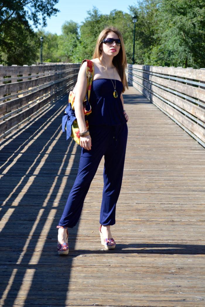 Blue Jumpsuit and Floral Bag