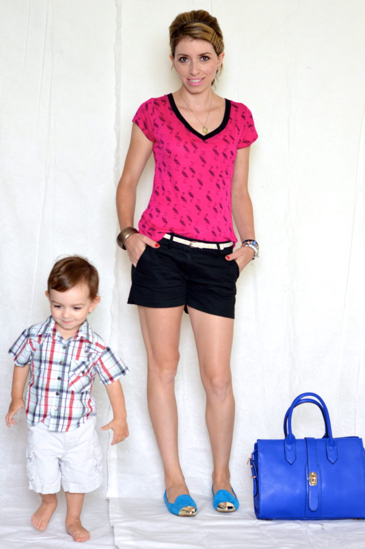 Fun Summer Look: Pink Flamingo Top and Black Shorts