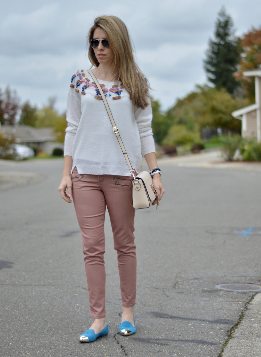 White Cozy Sweater and Blue Shoes