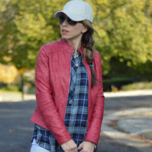 Plaid tunic and red shoes