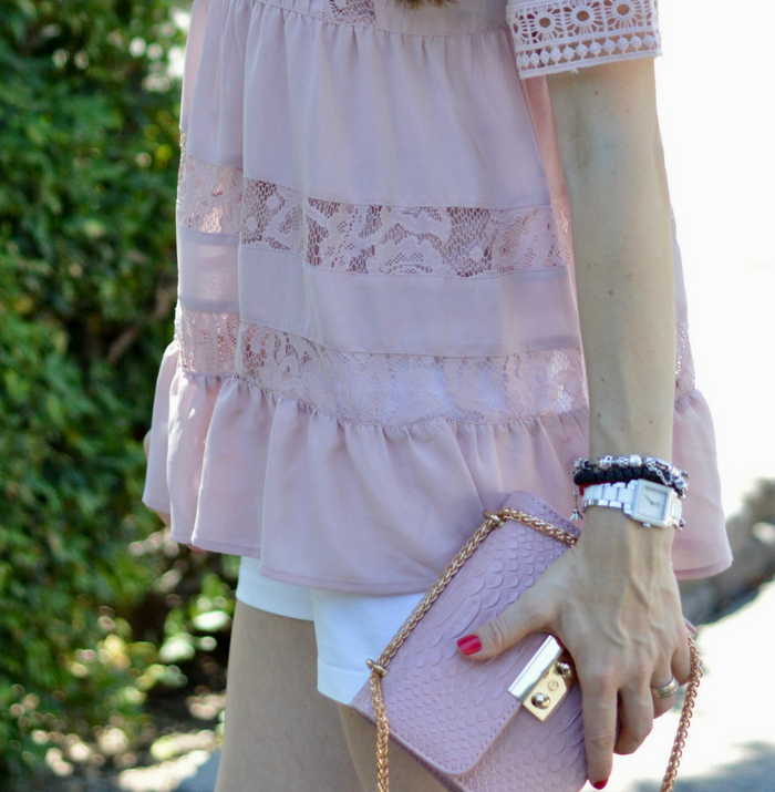 Crochet Top and Blush Bag