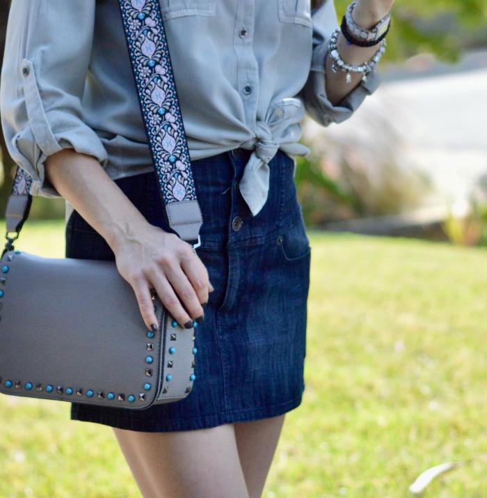 Embellished Shirt and Denim Skirt