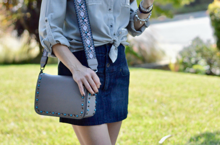 Embellished Shirt and Denim Skirt
