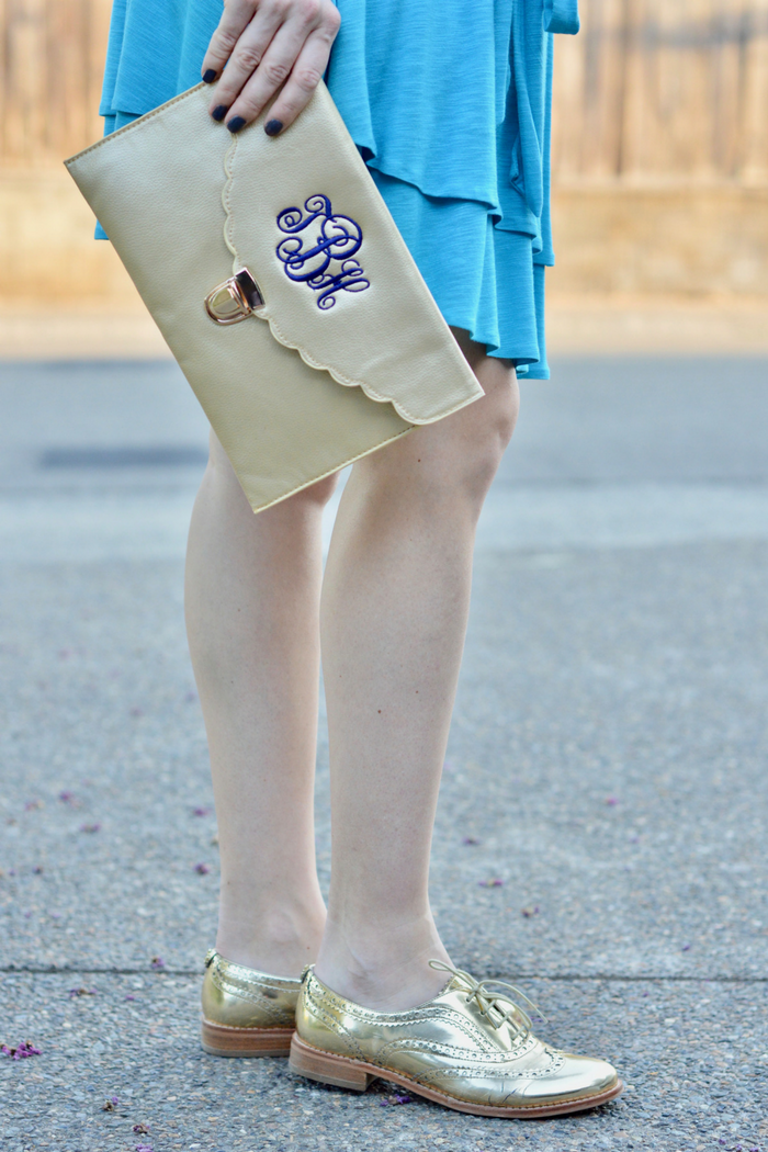 Gold Envelope Clutch and Blue Dress