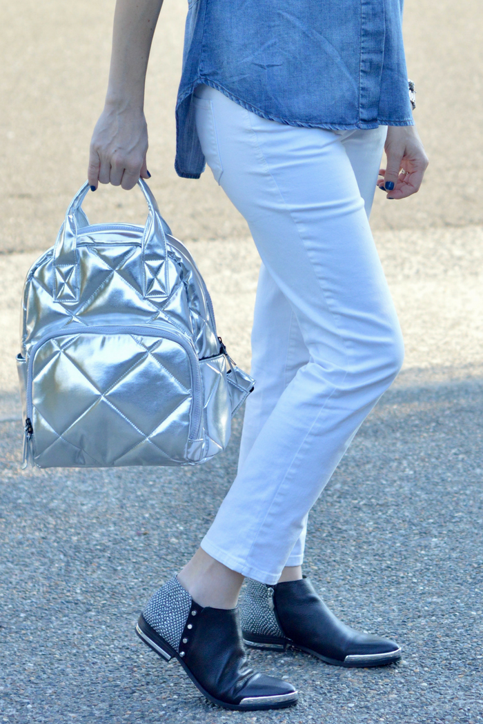 Metallic Backpack and White Denim